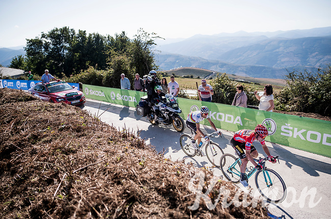 direct duel of the top GC contenders in the stage 15 finale between red jersey (overall leader) Primoz Roglic (SVK/Jumbo-Visma) & World Champion Alejandro Valverde (ESP/Movistar)<br /> <br /> Stage 15: Tineo to Santuario del Acebo (154km)<br /> La Vuelta 2019<br /> <br /> ©kramon
