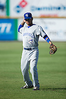 Juandy Mendoza (10) of the Bluefield Blue Jays warms up in the outfield prior to the game against the Burlington Royals at Burlington Athletic Stadium on June 26, 2016 in Burlington, North Carolina.  The Blue Jays defeated the Royals 4-3.  (Brian Westerholt/Four Seam Images)