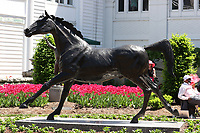30th April 2021; Kentucky, USA;  A statue of Aristides the first Kentucky Derby winner in 1875 is on display during Oaks Day on April 30, 2021 at Churchill Downs in Louisville, Kentucky.