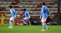 Manchester City U21's Keyendrah Simmonds scores his side's equalising goal to make the score 1-1<br /> <br /> Photographer Chris Vaughan/CameraSport<br /> <br /> EFL Papa John's Trophy - Northern Section - Group E - Lincoln City v Manchester City U21 - Tuesday 17th November 2020 - LNER Stadium - Lincoln<br />  <br /> World Copyright © 2020 CameraSport. All rights reserved. 43 Linden Ave. Countesthorpe. Leicester. England. LE8 5PG - Tel: +44 (0) 116 277 4147 - admin@camerasport.com - www.camerasport.com