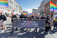 Pictured: South Wales Gay Men's Chorus. Saturday 04 May 2019<br /> Re: Swansea Pride Parade in south Wales, UK.