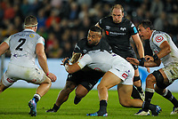 8th October 2021;  Swansea.com Stadium, Swansea, Wales; United Rugby Championship, Ospreys versus Sharks; Ma'afu Fia of Ospreys is tackled by Dylan Richardson of Cell C Sharks