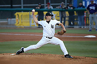 A.J. Jones (27) of the Long Beach State Dirtbags  pitches against the TCU Horned Toads at Blair Field on March 14, 2017 in Long Beach, California. Long Beach defeated TCU, 7-0. (Larry Goren/Four Seam Images)