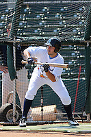 Wilmington Blue Rocks first baseman Eric Hosmer of the Carolina League All-Stars taking batting practice before the California League vs. Carolina League All-Star game held at BB&T Coastal Field in Myrtle Beach, SC on June 22, 2010. The California League All-Stars defeated the Carolina League All-Stars by the score of 4-3.  Photo By Robert Gurganus/Four Seam Images