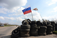 One of the many check points of pro-russian activists on the road between Donetsk and Slovyansk