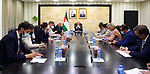 Palestinian Prime Minister Mohammed Ishtayeh meets with Consuls and representatives of European countries to Palestine, in the West Bank city of Ramallah on August 29, 2021. Photo by Prime Minister Office