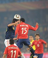 Sergio Busquets wins a header off a goal kick. Spain won Group H following a 2-1 defeat of Chile in Pretoria's Loftus Versfeld Stadium, Friday, June 25th, at the 2010 FIFA World Cup in South Africa..