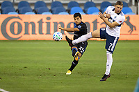 SAN JOSE, CA - OCTOBER 07: Nick Lima #24 of San Jose Earthquakes kicks the ball during a game between Vancouver Whitecaps and San Jose Earthquakes at Earthquakes Stadium on October 07, 2020 in San Jose, California.