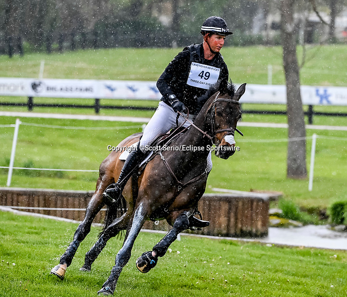 April 24, 2021: Jesse Campbell competes in the Cross Country phase of the Land Rover 5* 3-Day Event aboard Diachello at the Kentucky Horse Park in Lexington, Kentucky. Scott Serio/Eclipse Sportswire/CSM