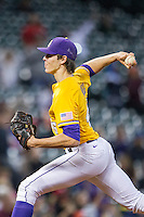 LSU Tigers pitcher Parker Bugg (46) delivers a pitch to the plate during the Houston College Classic against the Nebraska Cornhuskers on March 8, 2015 at Minute Maid Park in Houston, Texas. LSU defeated Nebraska 4-2. (Andrew Woolley/Four Seam Images)