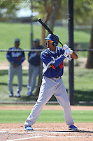 James Baldwin #66 of the Los Angeles Dodgers bats during a Minor League Spring Training Game against the Cleveland Indians at the Los Angeles Dodgers Spring Training Complex on March 22, 2014 in Glendale, Arizona. (Larry Goren/Four Seam Images)