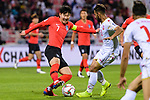 Son Heungmin of South Korea (L) fights for the ball with Ali Jaafar Madan of Bahrain (R) during the AFC Asian Cup UAE 2019 Round of 16 match between South Korea (KOR) and Bahrain (BHR) at Rashid Stadium on 22 January 2019 in Dubai, United Arab Emirates. Photo by Marcio Rodrigo Machado / Power Sport Images