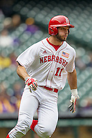 Nebraska Cornhuskers first baseman Scott Schreiber (11) rounds first base during the NCAA baseball game against the Hawaii Rainbow Warriors on March 7, 2015 at the Houston College Classic held at Minute Maid Park in Houston, Texas. Nebraska defeated Hawaii 4-3. (Andrew Woolley/Four Seam Images)