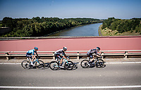 the breakaway trio consisting of: Hugo Houle (CAN/Astana - Premier Tech), Casper Pedersen (DEN/DSM) & Jack Bauer (NZL/BikeExchange) crossing the Maas/Meuse River<br /> <br /> 17th Benelux Tour 2021<br /> Stage 5 from Riemst to Bilzen (BEL/192km)<br /> <br /> ©kramon