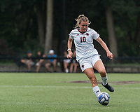 NEWTON, MA - AUGUST 29: Emily Knous #10 of Boston College controls the ball during a game between University of Connecticut and Boston College at Newton Campus Soccer Field on August 29, 2021 in Newton, Massachusetts.