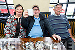 Mary Mahoney with James O'Brien, who is enjoying his own Cup with John O'Sullivan enjoying the Cheltenham Gold Cup day on Friday in the Greyhound Bar.