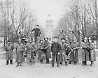 GTJS 2/08:  Notre Dame Fire Department firemen posed on Main Quad in front of Main Building, c1899.  Image from the University of Notre Dame Archives.