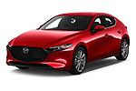 2019 Mazda Mazda-3 - 5 Door Hatchback Angular Front stock photos of front three quarter view