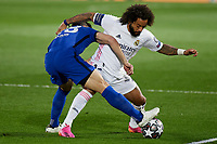 April 27th 2021; Alfredo Di Stefano Stadium, Madrid, Spain;  Marcelo Vieira of Real Madrid and Cesar Azpilicueta of Chelsea FC during the Champions League match, semifinals between Real Madrid and Chelsea FC played at Alfredo Di Stefano Stadium