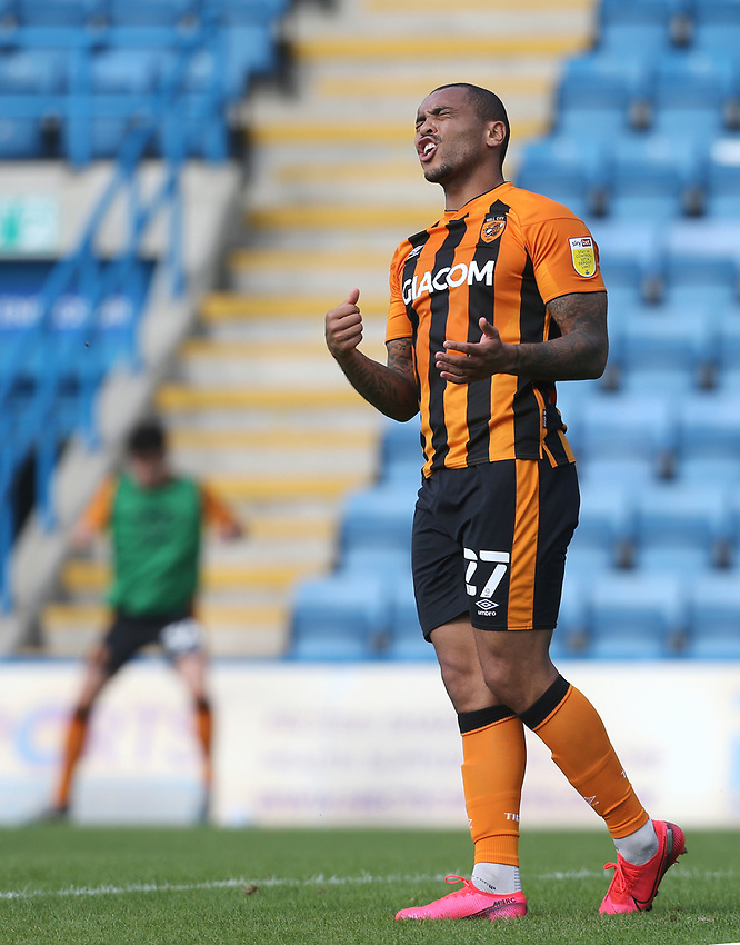 Hull City's Josh Magennis after a near miss<br /> <br /> Photographer Rob Newell/CameraSport<br /> <br /> The EFL Sky Bet League One - Gillingham v Hull City - Saturday September 12th 2020 - Priestfield Stadium - Gillingham<br /> <br /> World Copyright © 2020 CameraSport. All rights reserved. 43 Linden Ave. Countesthorpe. Leicester. England. LE8 5PG - Tel: +44 (0) 116 277 4147 - admin@camerasport.com - www.camerasport.com