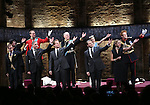 Tom Robertson, Margot Leicester, Oliver Chris, Miles Richardson, Adam James, Tim Pigott-Smith, Anthony Calf, Lydia Wilson, Sally Scott and Richard Goulding during the Broadway Opening Night performance curtain call bows for 'King Charles III' at the Music Box Theatre on November 1, 2015 in New York City.