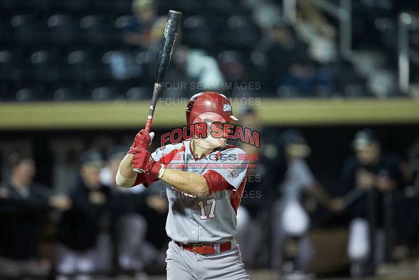 Bobby Garbuio (17) of the Sacred Heart Pioneers at bat against the Wake Forest Demon Deacons at David F. Couch Ballpark on February 15, 2019 in  Winston-Salem, North Carolina.  The Demon Deacons defeated the Pioneers 14-1. (Brian Westerholt/Four Seam Images)
