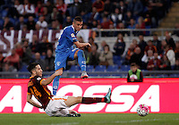 Calcio, Serie A: Roma vs Empoli. Roma, stadio Olimpico, 17 ottobre 2017.<br /> Empoli's Rade Krunic, right, is tackled by Roma's Kostas Manolas, during the Italian Serie A football match between Roma and Empoli at Rome's Olympic stadium, 17 October 2015.<br /> UPDATE IMAGES PRESS/Isabella Bonotto