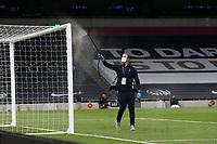 The goal posts are sprayed during the drinks break during Tottenham Hotspur vs Everton, Premier League Football at Tottenham Hotspur Stadium on 6th July 2020