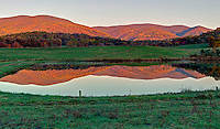 The fall colored Blue Ridge Mountains are reflected in  a pond on a farm in Greene County, Va. Photo/Andrew Shurtleff