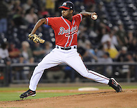 10 April 2008: LHP Nelson Payano (17) of the Mississippi Braves, Class AA affiliate of the Atlanta Braves, in a game against the Mobile BayBears at Trustmark Park in Pearl, Miss. Photo by:  Tom Priddy/Four Seam Images
