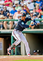 25 February 2019: Atlanta Braves infielder Pedro Florimon at bat during a pre-season Spring Training game against the Washington Nationals at Champion Stadium in the ESPN Wide World of Sports Complex in Kissimmee, Florida. The Braves defeated the Nationals 9-4 in Grapefruit League play in what will be their last season at the Disney / ESPN Wide World of Sports complex. Mandatory Credit: Ed Wolfstein Photo *** RAW (NEF) Image File Available ***