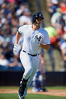 New York Yankees first baseman Greg Bird (33) runs to first base during a Grapefruit League Spring Training game against the Toronto Blue Jays on February 25, 2019 at George M. Steinbrenner Field in Tampa, Florida.  Yankees defeated the Blue Jays 3-0.  (Mike Janes/Four Seam Images)