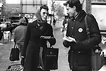 """Peter Tatchell electioneering south London 1983. UK. """"Justice for Pensioners"""" badge... Bermondsey by-election"""