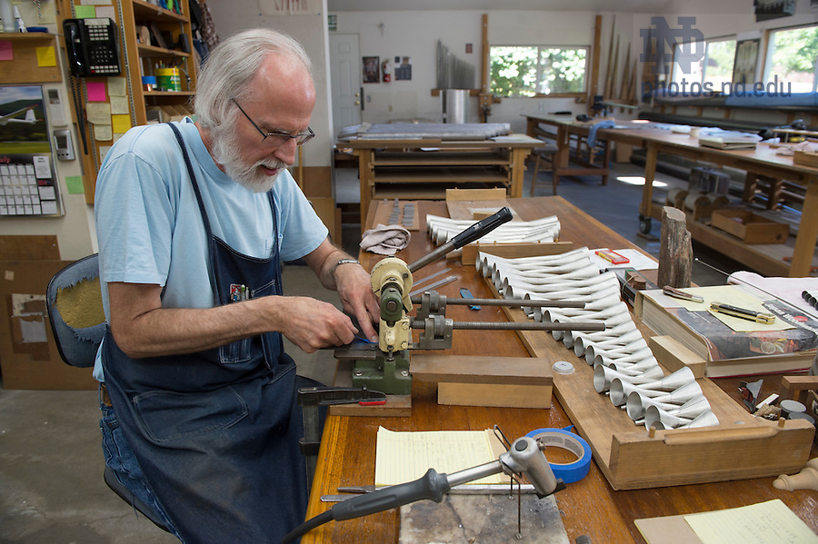 """""""We both can pretty much do one end of the pipe shop to the other,"""" Bahnsen says of his teamwork with Erik McLeod. Even with a jump start, the pipe making for the basilica organ has taken nearly three years."""