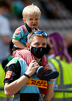 29th May 2021; Twickenham Stoop, London, England; English Premiership Rugby, Harlequins versus Bath; Family of fans supporting Quins
