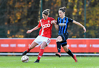 Standard's Ellen Charlier pictured in a fight for the ball with Charlotte Laridon (15 Brugge) during a female soccer game between Standard Femina de Liege and Club Brugge YLA on the seventh matchday of the 2020 - 2021 season of Belgian Scooore Womens Super League , saturday 14 th of November 2020  in Angleur , Belgium . PHOTO SPORTPIX.BE | SPP | DAVID CATRY