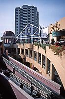 Horton Plaza, San Diego. Architect Jon Jerde. Opened in 1985. Lots of bridges and walkways.  Photo Jan. 1987.