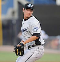 Pitcher Asher Wojciechowski (29) of the Dunedin Blue Jays of the Advanced Class A Florida State League, in a game against the Tampa Yankees on April 20, 2011, at Steinbrenner Field in Tampa, Fla. Wojciechowski was selected by the Toronto Blue Jays in the first round (41st overall) of the 2010 First-Year Player Draft out of The Citadel. Photo by Tom Priddy / Four Seam Images