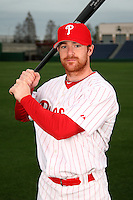 February 24, 2010:  Outfielder Chris Duffy (18) of the Philadelphia Phillies poses during photo day at Bright House Field in Clearwater, FL.  Photo By Mike Janes/Four Seam Images