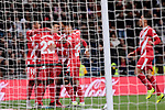 Girona FC's players celebrate goal during Copa del Rey match between Real Madrid and Girona FC at Santiago Bernabeu Stadium in Madrid, Spain. January 24, 2019. (ALTERPHOTOS/A. Perez Meca)