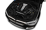 Car stock 2018 BMW 5 Series base 4 Door Sedan engine high angle detail view