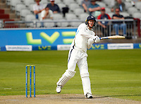 27th May 2021; Emirates Old Trafford, Manchester, Lancashire, England; County Championship Cricket, Lancashire versus Yorkshire, Day 1; Steven Pattersonof Yorkshire hits a boundary for 4 runs