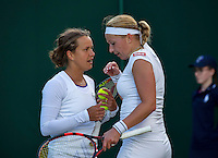 London, England, 2 July, 2016, Tennis, Wimbledon, Womans Doubles: Michaella Krajicek (NED) and her partner Barbora Zahlavova Strycova (CZE) (L)<br /> Photo: Henk Koster/tennisimages.com