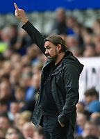 25th September 2021; Goodison Park, Liverpool, England; Premier League football, Everton versus Norwich; Norwich City manager Daniel Farke points the way to his players
