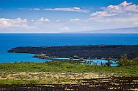 A lava field and Kiholo Bay, Kohala Coast, Big Island.