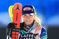 20th February 2021; Cortina d'Ampezzo, Italy; FIS Alpine World Ski Championships, Women's Slalom,  Mikaela Shiffrin (USA) with her bronze medal