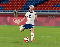 YOKOHAMA, JAPAN - JULY 30: Megan Rapinoe #15 of the USWNT takes her penalty kick during a game between Netherlands and USWNT at International Stadium Yokohama on July 30, 2021 in Yokohama, Japan.