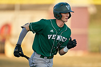 Venice Indians Michael Robertson (12) runs to first base after a base hit during a game against the Braden River Pirates on February 25, 2021 at Braden River High School in Bradenton, Florida.  (Mike Janes/Four Seam Images)