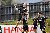 Hamish Watson of Team Wellington celebrates after scoring his team's first goal during the ISPS Handa Men's Premiership - Team Wellington v Canterbury Utd at David Farrington Park, Wellington on Saturday 19 December 2020.<br /> Copyright photo: Masanori Udagawa /  www.photosport.nz