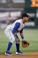 Alexis Aguilar #34 of the Rancho Cucamonga Quakes during a game against the Lancaster JetHawks at Clear Channel Stadium on August 22, 2012 in Lancaster, California. Rancho Cucamonga defeated Lancaster 8-7. (Larry Goren/Four Seam Images)